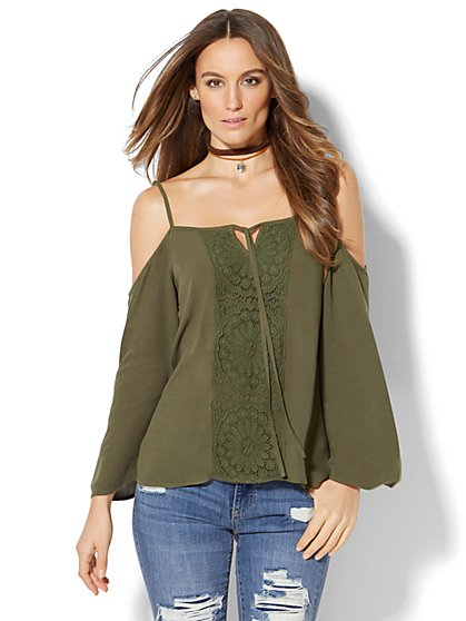Crochet-Panel Cold-Shoulder Blouse  - New York & Company