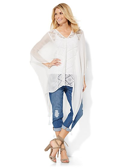Crochet-Panel Poncho  - New York & Company
