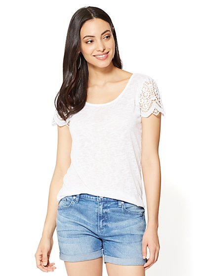 Crochet-Sleeve T-Shirt - New York & Company