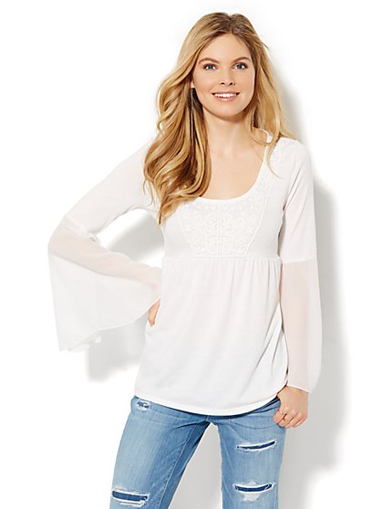 Crochet-Trim Bell-Sleeve Blouse  - New York & Company