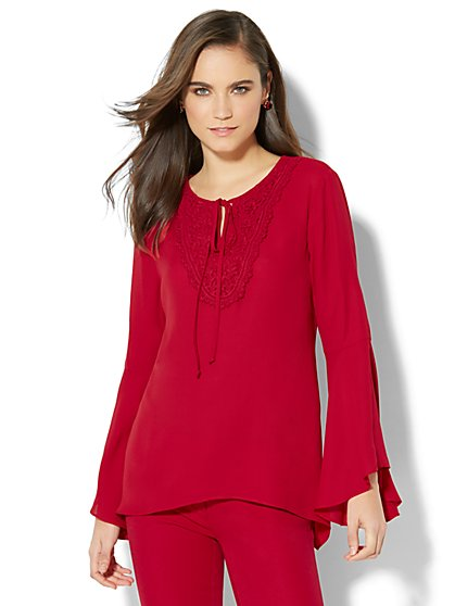 Crochet-Trim Blouse - New York & Company