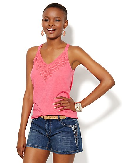 Crochet-Trim Halter Top  - New York & Company