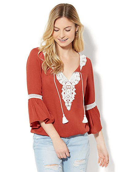 Crochet-Trim Peasant Blouse - New York & Company