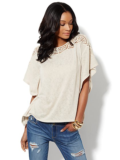 Crochet-Trim Short-Sleeve Top  - New York & Company