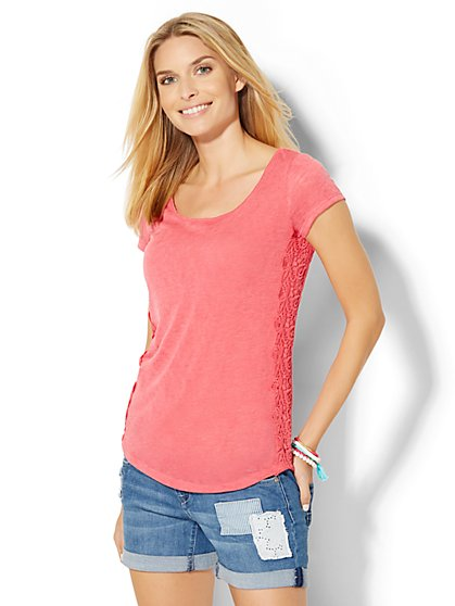 Crochet-Trim T-Shirt  - New York & Company