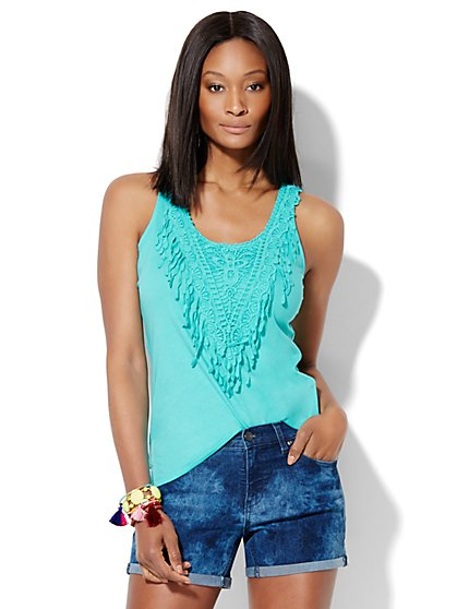 Crochet-Trim Tank Top  - New York & Company