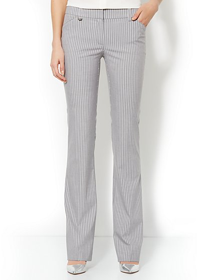 Crosby Street Mini Bootcut Pant - Triple Stripe Suiting - Average - New York & Company