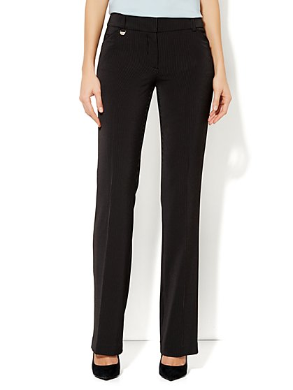 Crosby Street Mini Bootcut Pant - Winter Pinstripe - Petite - New York & Company