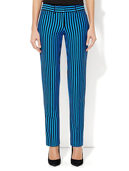 Crosby Street Slim Leg Pant - Blue & Black Striped