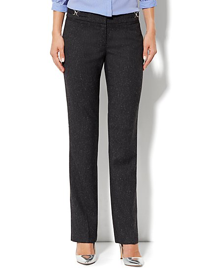Crosby Street Straight Leg Pant - Black Tweed - New York & Company