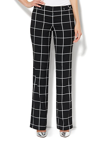 Crosby Street Straight Leg Pant - Black & White Plaid  - New York & Company