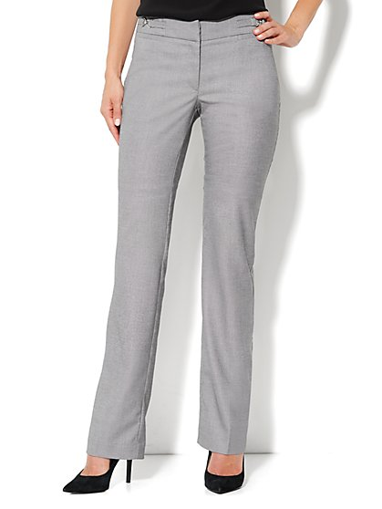 Crosby Street Straight Leg Pant - Black/White - New York & Company