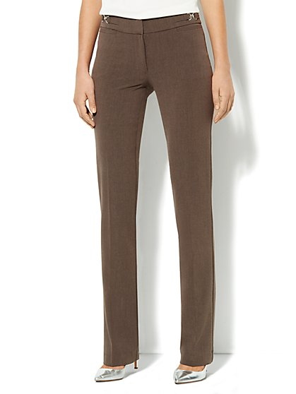 Crosby Street Straight Leg Pant - Brown Heather - Petite - New York & Company