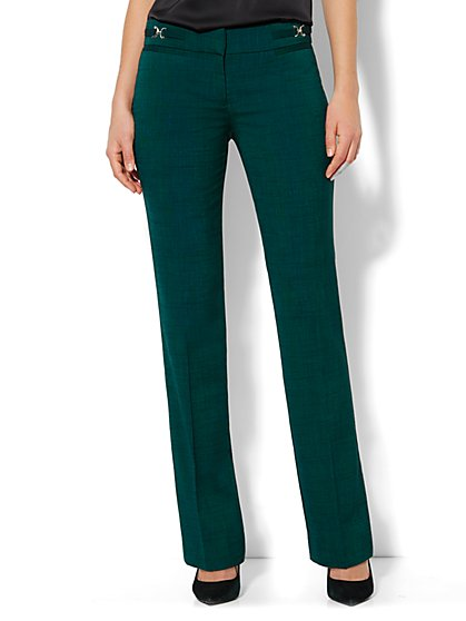 Crosby Street Straight Leg Pant - Green Crosshatch - New York & Company
