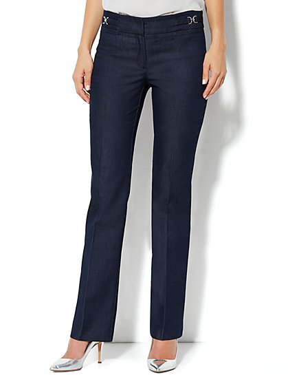 Crosby Street Straight Leg Pant - Hidden Blue - Petite - New York & Company