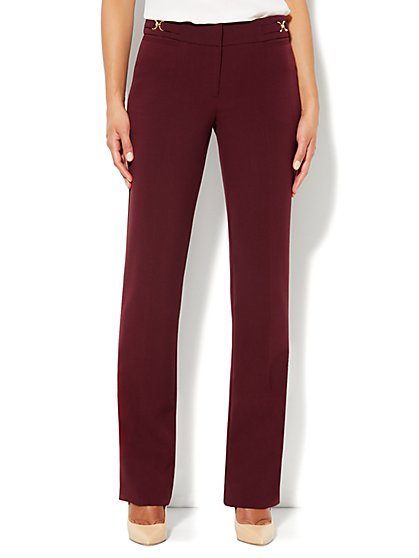 Crosby Street Straight Leg Pant - Petite - True Burgundy - New York & Company