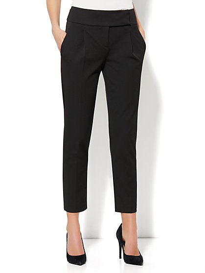 Crosby Street SuperStretch Pant - High-Waist Pleated Ankle - New York & Company