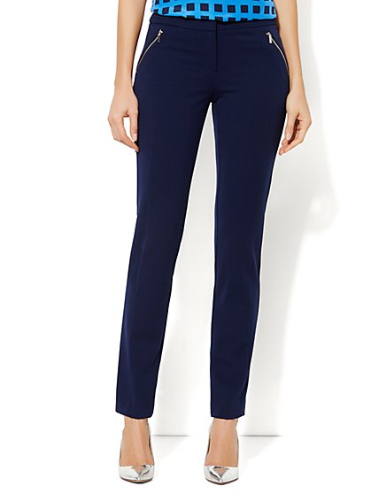 Crosby Street SuperStretch Slim Pant - Zip-Pocket - Average - New York & Company