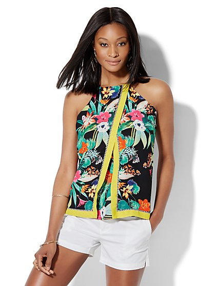 Crossover-Front Halter Blouse - Floral  - New York & Company