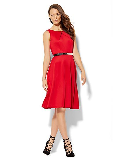 Crossover Neckline Flare Dress  - New York & Company