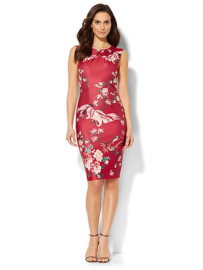 Crossover Sheath Dress - Bird & Floral Print - New York & Company