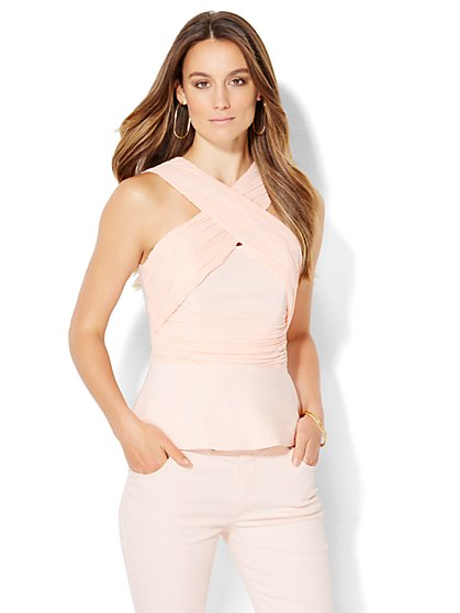 Crossover Strapless Peplum Top - Pink  - New York & Company