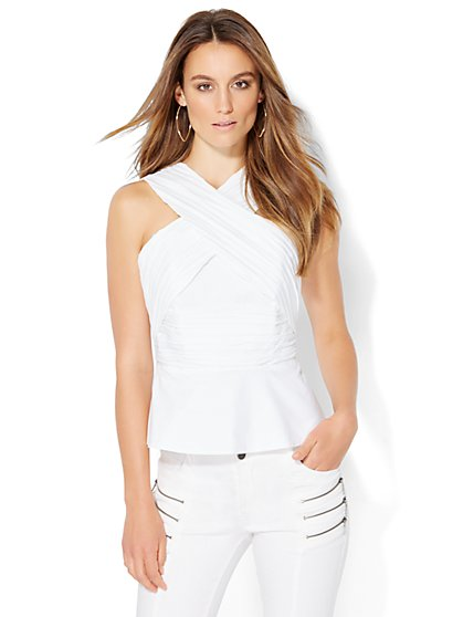 Crossover Strapless Peplum Top - White  - New York & Company