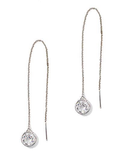 Crystal-Accent Chain Pull-Through Earring  - New York & Company