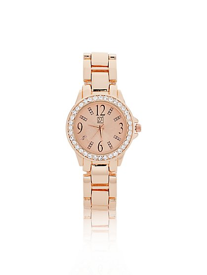 Crystal Embellished Round Face Watch
