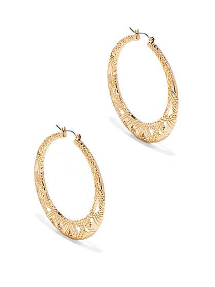 Cutout Flat Hoop Earring  - New York & Company