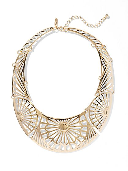 Cutout Floral Collar Necklace  - New York & Company