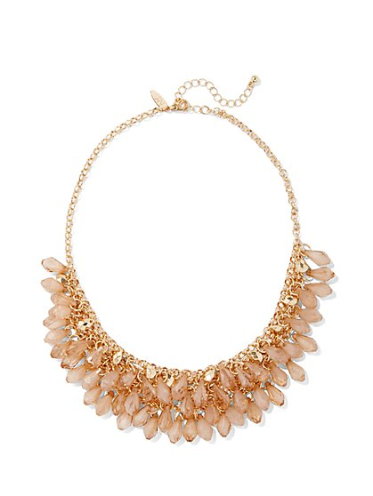 Dangle-Bead Bib Necklace  - New York & Company