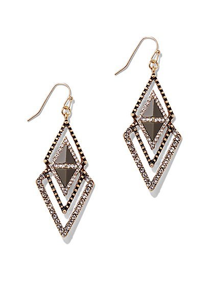 Dazzling Diamond-Shaped Drop Earring  - New York & Company