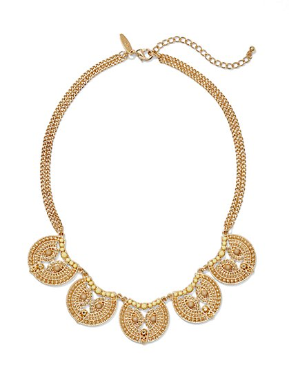Dazzling Filigree Disk Necklace  - New York & Company