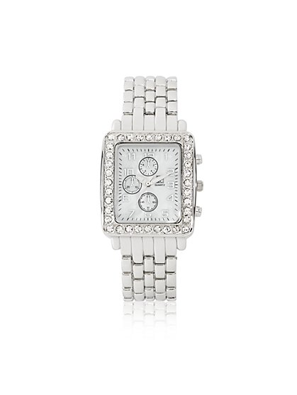 Dazzling Silvertone Link Watch - New York & Company
