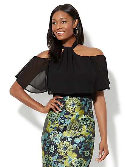 Delight Cold-Shoulder Blouse - Black - New York & Company