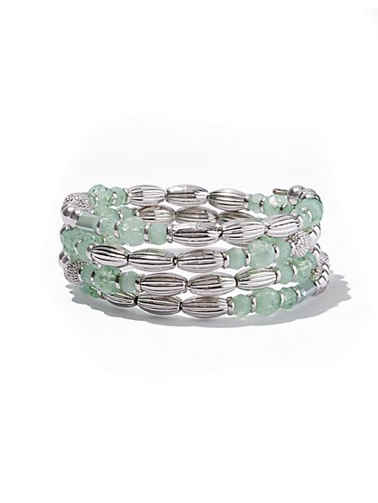 Denim Chain-Link Cuff Bracelet/ Soft Mint Beaded Coil Bracelet - New York & Company