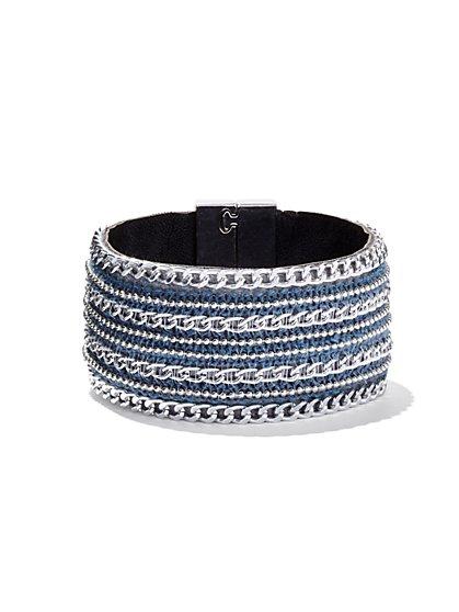 Denim Chain-Link Cuff Bracelet  - New York & Company