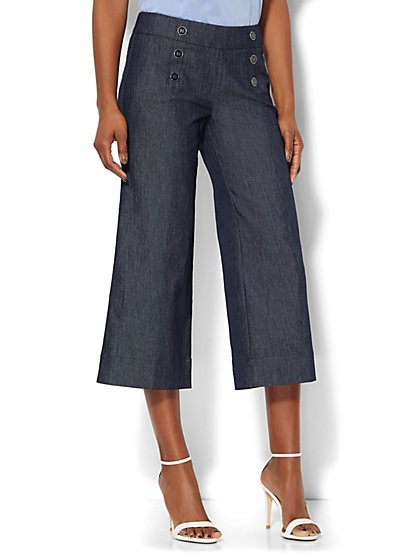 Denim Crop Sailor Pant - Grand Sapphire  - New York & Company