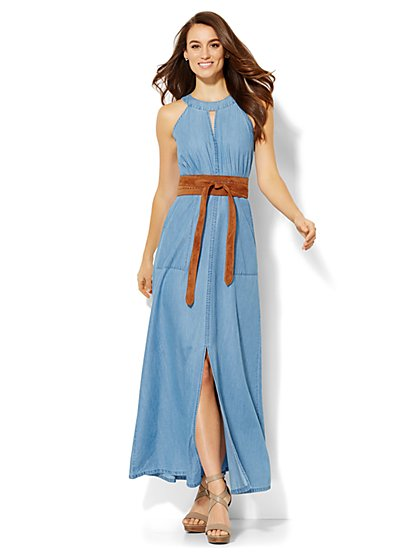 Denim Halter Maxi Dress - Petite  - New York & Company