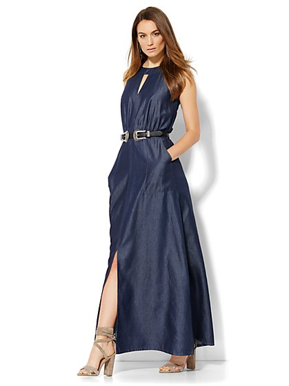 Denim Halter Maxi Dress - New York & Company