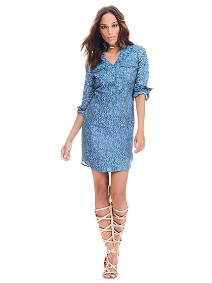 Denim Shirtdress - Floral - Snowflake Blue Wash - New York & Company