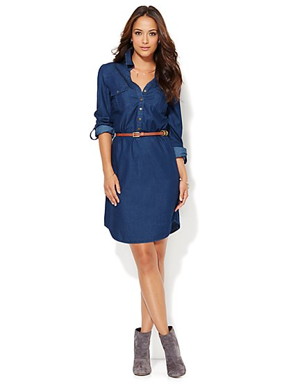 Denim Shirtdress - Hidden Blue  - New York & Company