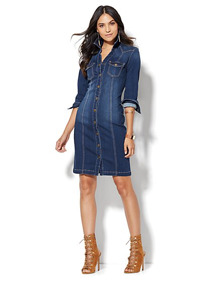 Denim Shirtdress - Polished Blue Wash  - New York & Company