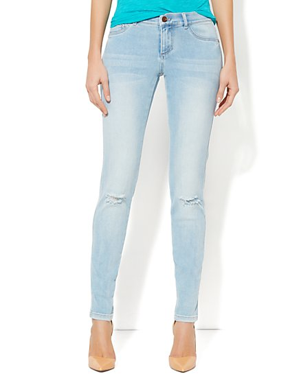 Destroyed Jean Legging - Tundra Blue Wash