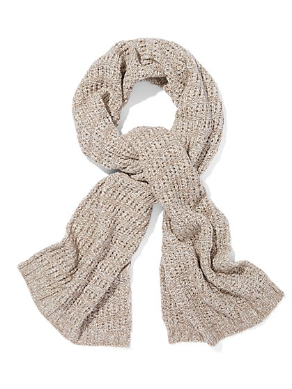 Diagonal-Stitch Knit Scarf  - New York & Company