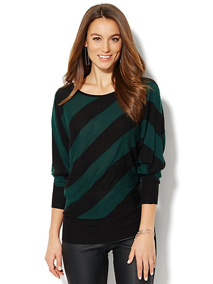 Diagonal-Stripe Dolman Sweater  - New York & Company