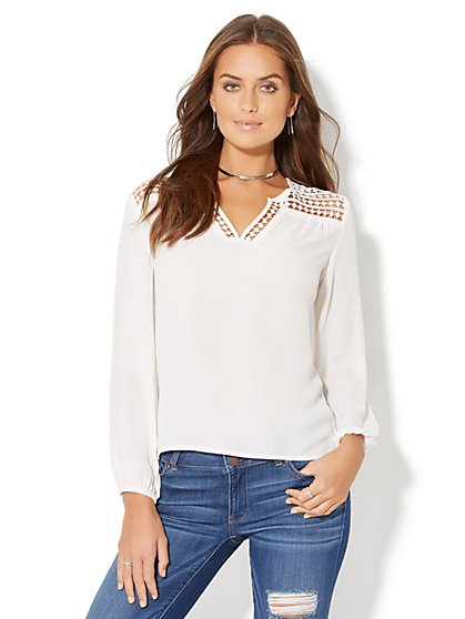 Diamond-Lace Peasant Blouse - New York & Company