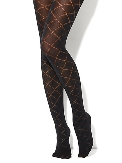 Diamond Pattern Opaque Tights - New York & Company