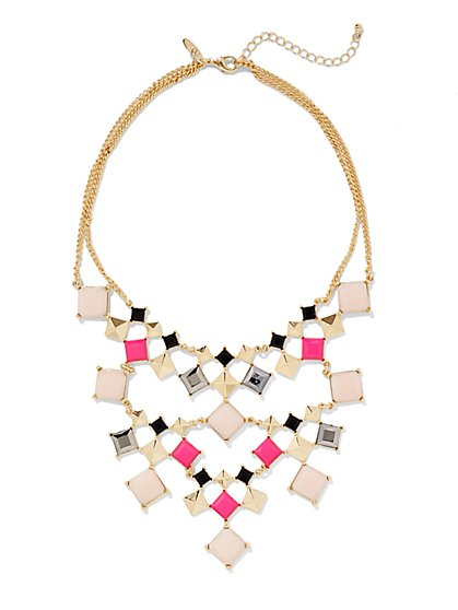Diamond-Shaped Beaded Bib Necklace  - New York & Company